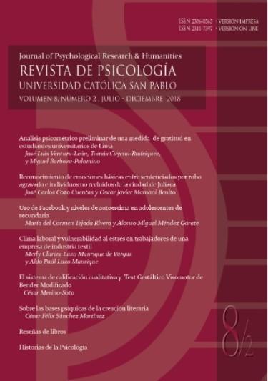 Revista de Psicología, volumen 8, número  2, julio - diciembre 2018