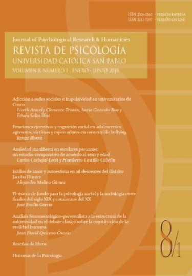 Revista de Psicología, volumen 8, número  1, enero - junio 2018