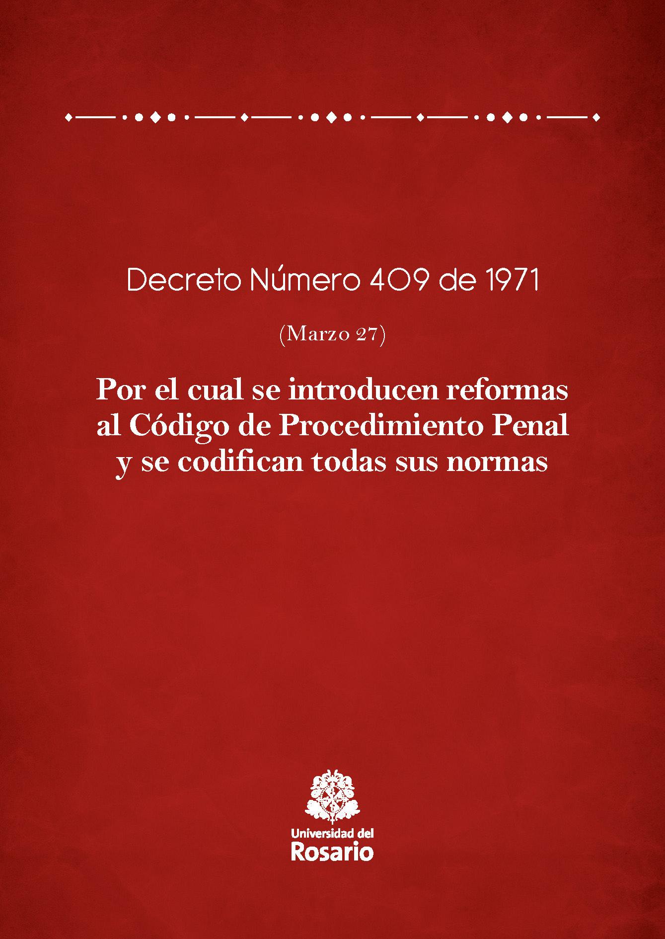 Decreto Número 409 de 1971 (Marzo 27)